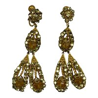 Signed Miriam Haskell Drop Earrings