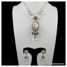 Miriam Haskell Crystal and Rhinestone Necklace and Earring Set