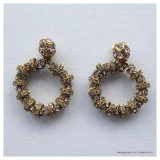 Francoise Montague Huge Rhinestone Hoop Earrings
