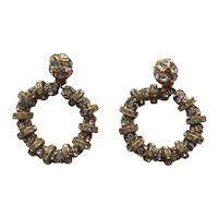 Francoise Montague Huge Rhinestone Hoop Earrings