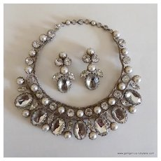 Schreiner faux Pearl and Rhinestone Bib and Earring Set