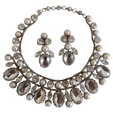 Schreiner faux Pearl and Rhinestone Bib and Earring Set