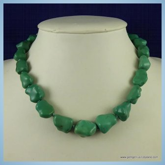 Vintage Chinese Turquoise Nugget Necklace ( 92 grams)