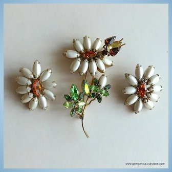 Schreiner Large Trembler Pin and Matching Earrings