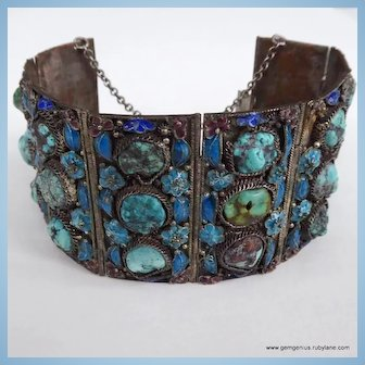 Chinese Turquoise and Enamel Cuff