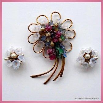 Louis Rousselet  Brooch and Earrings Set