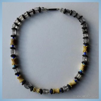 Chinese  Carved Bone and Bead Necklace