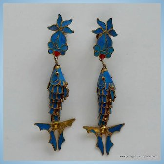 Kingfisher Feather Drop Earrings
