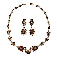 French Rhinestone Necklace and Earring Set