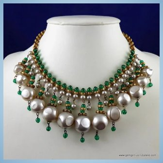 Miriam Haskell Gilt Pearl and Bead Bib Necklace
