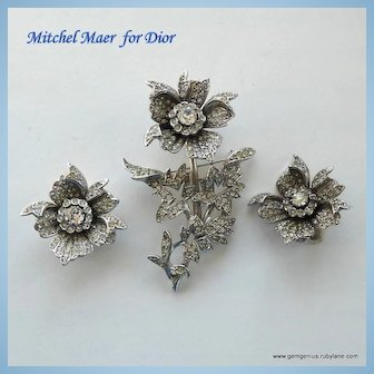 Dior Brooch and Earring Set by Mitchel Maer
