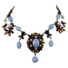Bead and Rhinestone Necklace by Maryse Blanchard