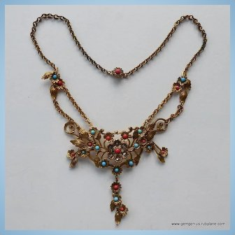 Italian Gilt Chain and Faux Coral and Turquoise Necklace