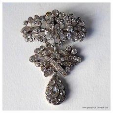 Antique Silver and Paste Girandole Brooch Pendant