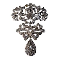 Antique Silver and Paste Girandole Brooch Pendant