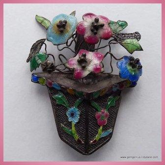 Chinese Flower Basket Brooch