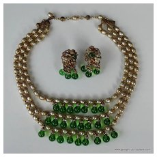 Robert Faux Pearl and Rhinestone Necklace and Earring Set
