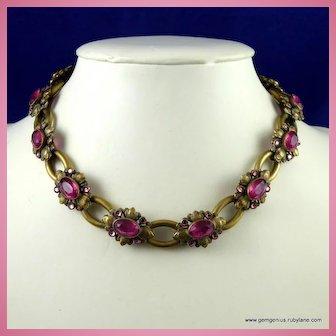 Antique Czech Brass and Rhinestone Necklace