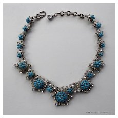 1950's  Dior Faux Turquoise and Rhinestone Necklace