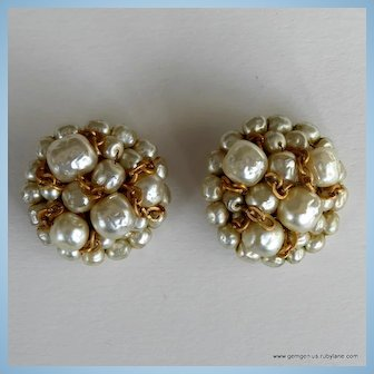 Coppola and Toppo Gilt and Faux Pearl Earrings