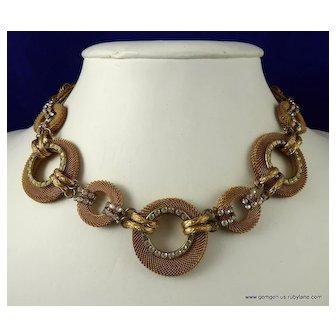 Vintage Francoise Montague Gilt and Rhinestone Necklace