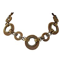 Vintage Francoise Montague Gilt and Rhinestone Necklace