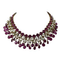 Kramer Rhinestone and Faux Pearl Collar