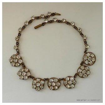 Antique Daisy Rhinestone Necklace