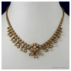 Victorian Gold and Seed Pearl Necklace