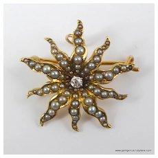 Victorian Sunburst Pearl and Diamond Gold Brooch Pendant
