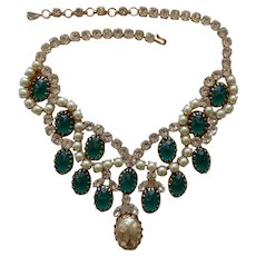 Schreiner Faux Emerald Pearl and Rhinestone Bib