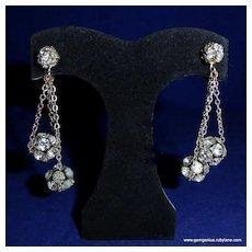 Miriam Haskell Rhinestone Drop Earrings