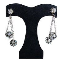 Miriam Haskell Rhinestone Drop Earrings