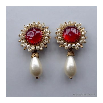 Chanel Gripoix  Glass and Faux Pearl Earrings