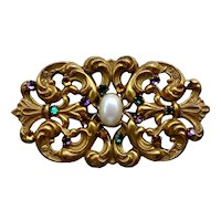 Large Gilt and Rhinestone Brooch by Miriam Haskell