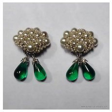 Rousselet Faux Pearl and Emerald Bead Drop Earrings