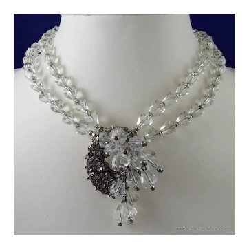 Crystal Glass and Rhinestone Necklace