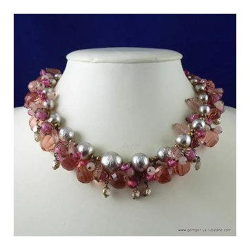 Miriam Haskell Faux Baroque Pearl and Bead Necklace
