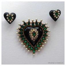 Huge Rhinestone and Pearl Glass Heart Brooch and Earrings Set by Robert