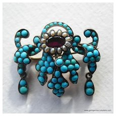 Victorian Turquoise Pearl and Garnet Brooch Pendant