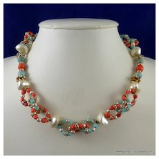 French Necklace of Rhinestone Rondelles Faux Coral Pearls and Turquoise