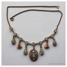 Italian Antique Micro Mosaic Necklace