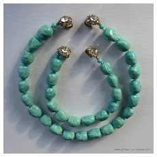 Judith McCann Turquoise and Rhinestone Necklace and Bracelet Set