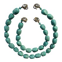 Judith McCann Turquoise and Rhinestone Necklace and Bracelet Set