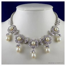 Rhinestone Flower and Faux Pearl Drop Necklace.