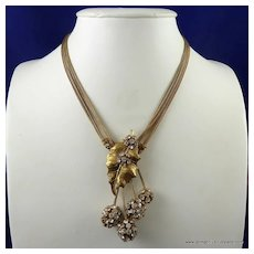 Miriam Haskell Gold Leaf and Rhinestone Necklace