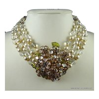 Gripoix Poured Glass Flower and Pearl Collar Necklace