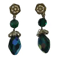 Vogue Rhinestone and Bead Drop Earrings