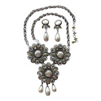 Schreiner Rhinestone and Pearl Necklace and Earring Set