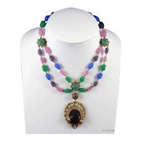 Haskell Style Gilt Metal and Art Glass Necklace